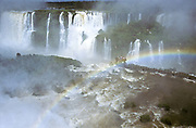 The Iguazú falls which are shared between and Brazil and Argentina. this view from Brazilian side.