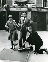 1927 Mary Pickford and Douglas Fairbanks' hand/footprint ceremony at Grauman's Chinese Theatre with Sid Grauman