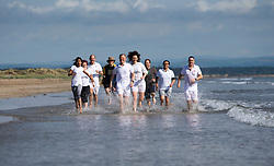 Pictured: Scottish Liberal Democrat leader Willie Rennie MSP joined activists in a run along the beach at St Andrews<br /> <br /> <br /> <br /> Ger Harley | EEm date