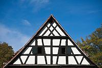 Wooden Frame design typical of Bavarian architecture, Egloffstein, Franconia, Bavaria, Germany