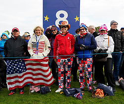 Auchterarder, Scotland, UK. 15 September 2019. Sunday Singles matches on final day  at 2019 Solheim Cup on Centenary Course at Gleneagles. Pictured; Team USA fans beside the 8th green. Iain Masterton/Alamy Live News