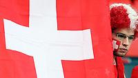 GEPA-1106086004 - BASEL,SCHWEIZ,11.JUN.08 - FUSSBALL - UEFA Europameisterschaft, EURO 2008, Schweiz vs Tuerkei, SUI vs TUR, Vorberichte. Bild zeigt einen Fan der Schweiz. Keywords: Fahne, Flagge.<br />Foto: GEPA pictures/ Philipp Schalber