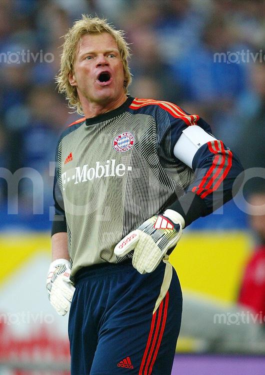 FUSSBALL Bundesliga Saison 2003/2004 Torwart Oliver KAHN ruft. FC Bayern Muenchen
