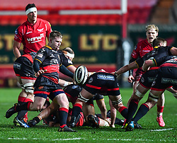 Dragons' Dan Babos in action during todays match<br /> <br /> Photographer Craig Thomas/Replay Images<br /> <br /> Guinness PRO14 Round 13 - Scarlets v Dragons - Friday 5th January 2018 - Parc Y Scarlets - Llanelli<br /> <br /> World Copyright © Replay Images . All rights reserved. info@replayimages.co.uk - http://replayimages.co.uk