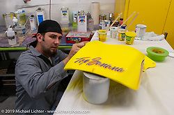 Ness employee Chuck Beter in the new Ness shop working on the finish on the Top Banana skins. Dublin, CA. 2004. Photograph ©2004 Michael Lichter