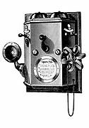 Edison telephone in a wall-mounted box. Wood engraving, New York, 1890