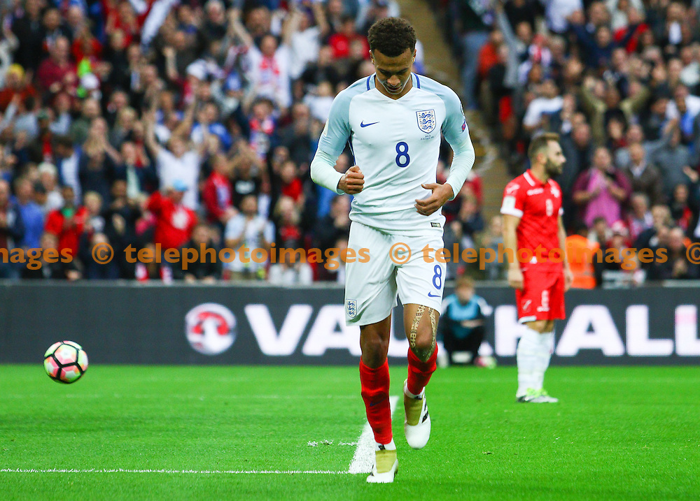 Deli Alli of England celebrates scoring during the FIFA World Cup Qualifier match between England and Malta at Wembley Stadium in London. October 8, 2016.<br /> Arron Gent / Telephoto Images<br /> +44 7967 642437