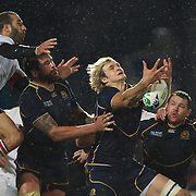 Richie Gray, Scotland catches a kick during the Scotland V Georgia Pool B match  during the IRB Rugby World Cup tournament.  Invercargill, New Zealand, 14th September 2011. Photo Tim Clayton...