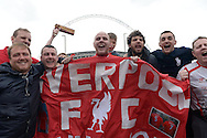 a Group of Liverpool fans cheering outside Wembley Stadium before k/o. The FA Cup, semi final match, Aston Villa v Liverpool at Wembley Stadium in London on Sunday 19th April 2015.<br /> pic by John Patrick Fletcher, Andrew Orchard sports photography.