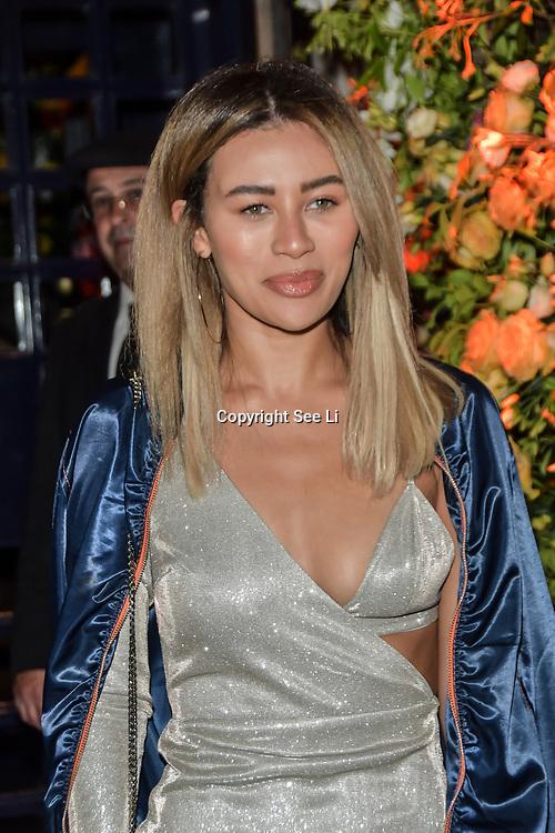 Montana Brown arrives at Tramp Members Club 40 Jermyn Street, on 23 May 2019, London, UK.