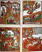 Russian popular coloured woodcut of parables, including the Raising of Lazarus. 19th century.