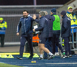 Falkirk's manager Paul Hartleycele after Tommy Robson scored their fourth goal. Falkirk 6 v 1 Dundee United, Scottish Championship game played 6/1/2018 played at The Falkirk Stadium.
