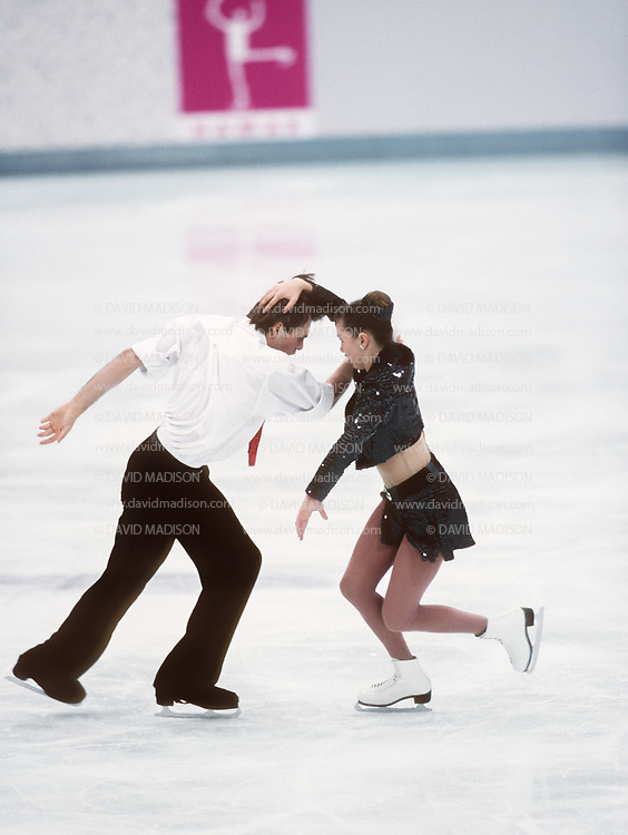 LILLEHAMMER, NORWAY -  FEBRUARY 21:  Oksana Grichtchuk and Yevgeny Platov of Russia compete in the Free Dance portion of the Ice Dancing competition of the 1994 Winter Olympic Games on February 21, 1994 at the Hamar Olympic Amphitheatre in Lillehammer, Norway.  They were the gold medalists in the event.  Photo by David Madison/Getty Images) *** Local Caption *** Oksana Grichtchuk;Yevgeny Platov