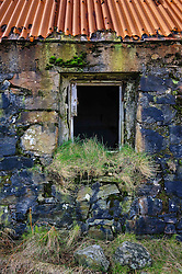 Window detail of abandoned croft house near Lochmaddy, North Uist, Outer Hebrides, Scotland<br /> <br /> (c) Andrew Wilson | Edinburgh Elite media