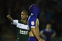 Capital One Cup First Round Plymouth Argyle vs Portsmouth<br /> Portsmouth's Sam Magri dejected as Plymouth's Paris Cowan-Hall celebrates goal by Nick Chadwick