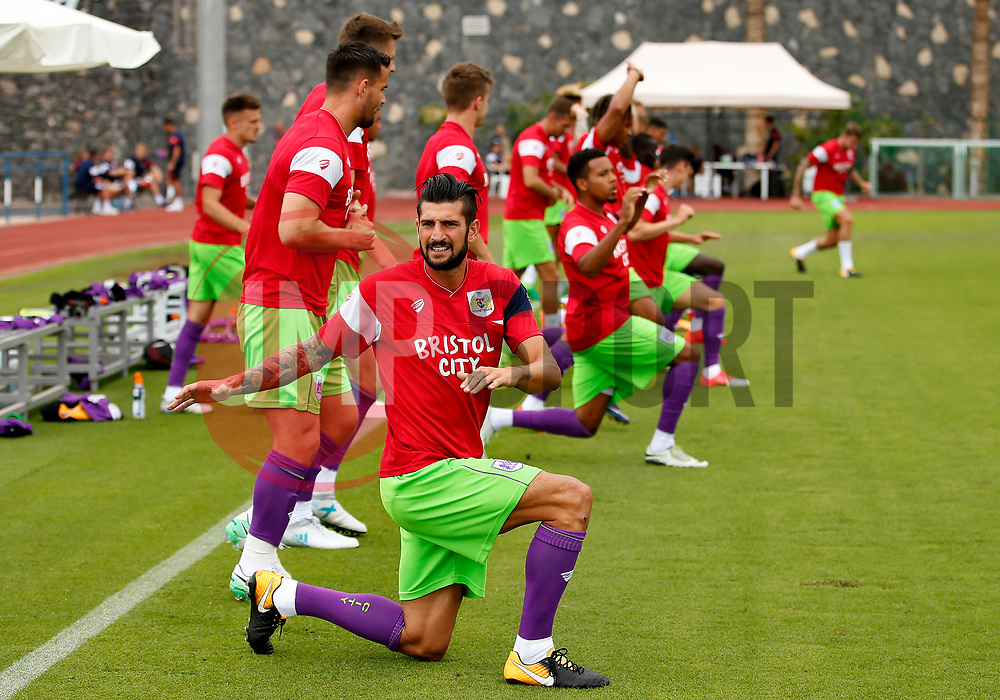 Eros Pisano of Bristol City warms up with team mates - Mandatory by-line: Matt McNulty/JMP - 22/07/2017 - FOOTBALL - Tenerife Top Training - Costa Adeje, Tenerife - Bristol City v Atletico Union Guimar  - Pre-Season Friendly