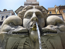 Pantheon Fountain outside the Pantheon in Piazza della Rotunda in Rome, Italy. The fountain was designed by Giacomo Della Porta and sculpted by Leonardo Sormani in 1575. 1st July, 2011..©Pic : Michael Schofield.