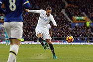 Gylfi Sigudsson of Swansea City tries a shot at goal. Premier league match, Everton v Swansea city at Goodison Park in Liverpool, Merseyside on Saturday 19th November 2016.<br /> pic by Chris Stading, Andrew Orchard sports photography.