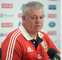 9 June 2013; British & Irish Lions head coach Warren Gatland during the team announcement ahead of their game against Combined Country on Tuesday. British & Irish Lions Tour 2013, Team Announcement, Ballroom, Tattersalls Club, Brisbane, Queensland, Australia. Picture credit: Stephen McCarthy / SPORTSFILE