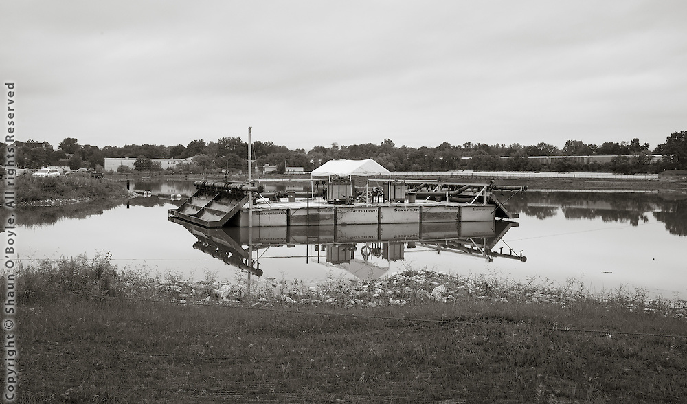 Barge on Silver lake, Pittsfield MA, used to place a sand cap on the bottom of the lake intended to encapsulate remaining PCB's.