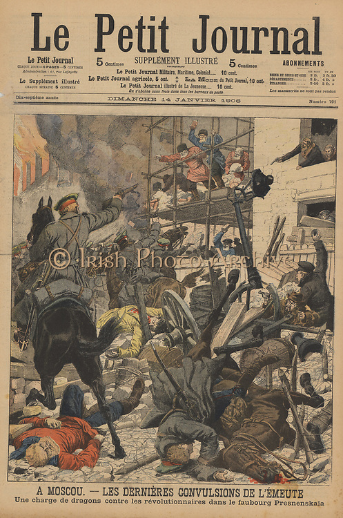 Russian Revolution 1905-1906, The last of the riots in Moscow: Soldiers firing on rioters who had taken  refuge in the Prokhorof factory, Presnenskaia District.  From 'Le Petit Journal', Paris, 14 January 1906.