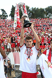 May 20, 2018 - Lisbon, Portugal - Aves' forward Alexandre Guedes celebrates with the trophy after winning the Portugal Cup Final football match CD Aves vs Sporting CP at the Jamor stadium in Oeiras, outskirts of Lisbon, on May 20, 2015. (Aves won 2-1) (Credit Image: © Pedro Fiuza/NurPhoto via ZUMA Press)