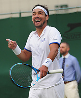 Tennis - 2019 Wimbledon Championships - Week One, Tuesday (Day Two)<br /> <br /> Men's Singles, 1st Round: Frances Tiafoe (USA) v Fabio Fognini (ITA)<br /> <br /> Fabio Fognini laughs after winning match point  on Court 18<br /> <br /> COLORSPORT/ANDREW COWIE