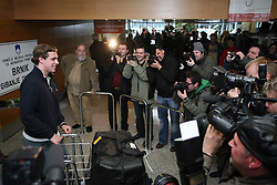 Slovenian NHL star  Anze Kopitar of the Los Angeles Kings at the arrival  from USA at the end of the NHL season at airport Joze Pucnik Ljubljana,  on April 10, 2008 in Brnik, Slovenia. (Photo by Vid Ponikvar / Sportal Images)