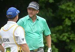 July 15, 2018 - Silvis, Illinois, U.S. - SILVIS, IL - JULY 15:  Jason Bohn talks with his caddy before teeing off on the #2 hole during the final round of the John Deere Classic on July 15, 2018, at TPC Deere Run, Silvis, IL.  (Photo by Keith Gillett/Icon Sportswire) (Credit Image: © Keith Gillett/Icon SMI via ZUMA Press)