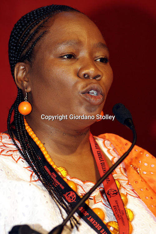 DURBAN - 9 August 2007 - Violet Seboni, the 2nd deputy president of the South African Clothing and Textile Workers Union speaks to delegats at the union's 10th Congress, held in the International Convention Centre in Durban. Seboni is also the 2nd deputy president of the Congress of South African Trade Unions..PostScript: Seboni was killed in a car accident on April 3,2009..Picture: Giordano Stolley/Allied Picture Press