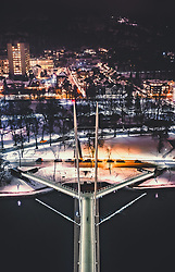 THEMENBILD - die Ypsilon Bruecke am Abend mit den Lichtern der Stadt, aufgenommen am 15. Maerz 2019 in Drammen, Norwegen // the Ypsilon Bridge in the evening with the lights of the city, Drammen, Norway on 2018/03/15. EXPA Pictures © 2019, PhotoCredit: EXPA/ JFK
