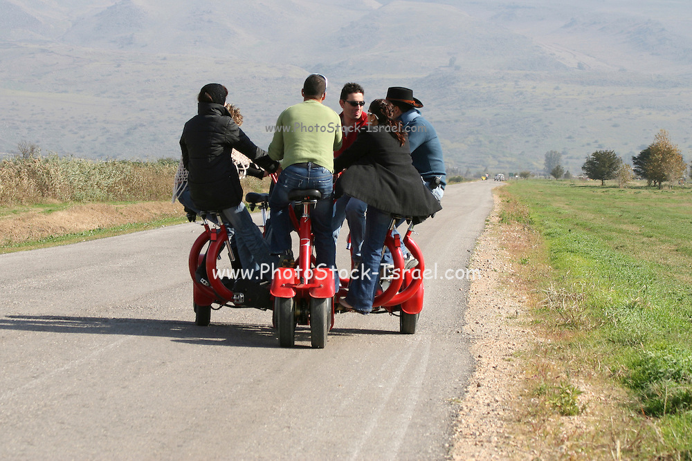 Israel, Hula Valley, Agamon bird sanctuary, A cycle for 6 riders used to tour the site