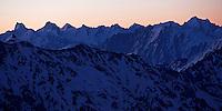 Russia, Caucasus, mountain pamorama before sunrise, seen from Elbrus.