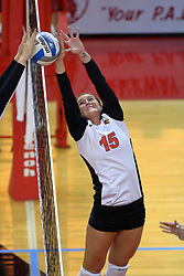 13 October 2011: Kristin Stauter battles at the net during an NCAA volleyball match between the Indiana State Sycamores and the Illinois State Redbirds at Redbird Arena in Normal Illinois.