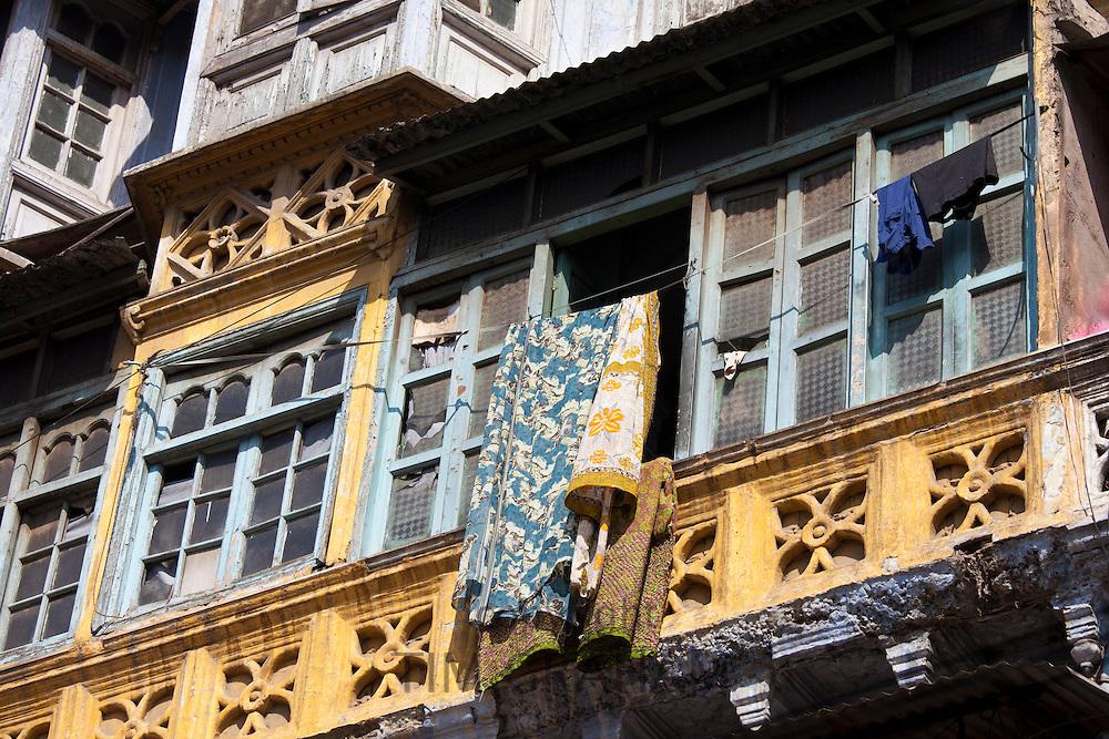 Old colonial architecture at Khari Baoli in Old Delhi, India