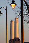 The chimneys of the disused Battersea Power Station, London, UK