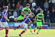 Forest Green Rovers Paul Digby(20) heads the ball during the EFL Sky Bet League 2 match between Forest Green Rovers and Exeter City at the New Lawn, Forest Green, United Kingdom on 4 May 2019.