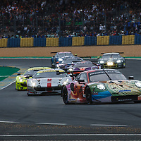 At the start #56, Team Project 1, Porsche 911 RSR, LMGTE Am, driven by: Jorg Bergmeister, Patrick Lindsey, Egidio Perfetti on 15/06/2019 at the Le Mans 24H 2019