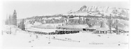 """RGS Lizard Head station area showing the east side.  A derailment of gons has occurred on the tail of the wye.  The snowshed over the tail has not yet been erected and the stock pens are rather small.<br /> RGS  Lizard Head, CO  ca. ? 1920<br /> In book """"Rio Grande Southern, The: An Ultimate Pictorial Study"""" page 145<br /> Also at RD137-020.<br /> Thanks to Don Bergman for additional information."""