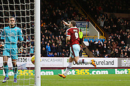 Sam Vokes of Burnley celebrates after scoring his teams 1st goal from a penalty. Skybet football league Championship match, Burnley v Rotherham United at Turf Moor in Burnley, Lancs on Saturday 20th February 2016.<br /> pic by Chris Stading, Andrew Orchard sports photography.