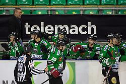 23.01.2015, Hala Tivoli, Ljubljana, SLO, EBEL, HDD Telemach Olimpija Ljubljana vs HC Znojmo Orli, 42. Runde, in picture Sebastijan Hadzic (HDD Telemach Olimpija, #30) celebrates after scoring his first goal in EBEL league during the Erste Bank Icehockey League 42. Round between HDD Telemach Olimpija Ljubljana and HC Znojmo Orli at the Hala Tivoli, Ljubljana, Slovenia on 2015/01/23. Photo by Morgan Kristan / Sportida
