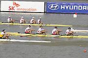 Chungju, South Korea. Men's NED M4- Bow. Boaz MEYLINK (b) , Kaj HENDRIKS (2) , Mechiel VERSLUIS (3) , Robert LUECKEN .<br /> <br /> AUSM4-. William LOCKWOOD (b) , Alexander LLOYD (2) , Spencer TURRIN (3) , Joshua DUNKLEY-SMITH (s)<br /> <br /> USAM4- Grant JAMES (b) , Seth WEIL (2) , Henrik RUMMEL (3) , Michael GENNARO. <br /> <br /> ITAM4- Matteo LODO Bow. Paolo PERINO (2) , Mario PAONESSA (3) , Giuseppe VICINO (s)<br /> <br /> 2013 Rowing Championships, Tangeum Lake, International Regatta Course.  Saturday  31/08/2013 [Mandatory Credit. Peter Spurrier/Intersport Images]