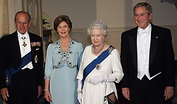 Queen Elizabeth ll, Prince Philip, Duke of Edinburgh, President George W. Bush and wife Laura attend a State Banquet at the White House, Washington DC on May 7, 2007.