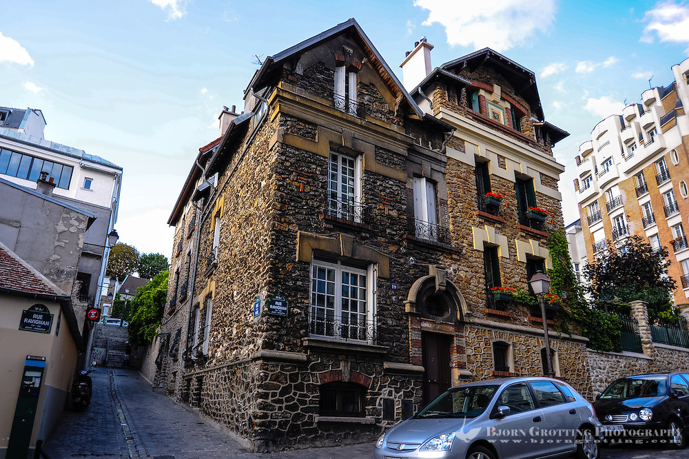 Paris, France. Montmatre has always attracted artists. An old brick house.