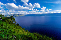 Indonesia, Sumatra. Toba. View of the Toba Lake from the mainland, Parapat side looking south. Danau Toba occupy an old caldera of a supervolcano that erupted 100.000 years ago.