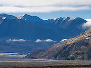 View of the Waimakariri Valley and overhanging clouds; New Zealand; June 2013