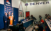 SHOT 3/20/12 1:26:28 PM - The Denver Broncos' owner Pat Bowlen, left, and John Elway, right, introduced free agent quarterback Peyton Manning, center, at team headquarters in Englewood, Co. at a press conference on Tuesday Marc 20, 2012. Manning is coming off neck surgery and was released by the Indianapolis Colts. He signed a five year, $96 million contract with the Broncos..(Photo by Marc Piscotty / © 2012)
