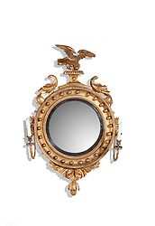 Girandole Looking Glass Gilded American eagle round mirror with candle stick on both sides
