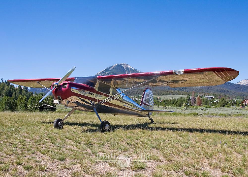 Cessna 140 Tied Down at Smiley Creek, Idaho