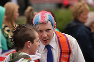 Two Loyalist lads chat during a respite in the Orange Day Marches Belfast, UK, 12/7/2008